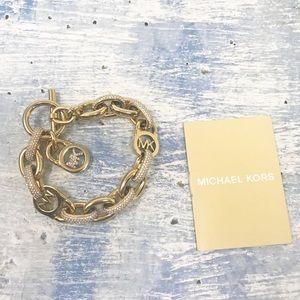 NEW Michael Kors Gold Pave Link Toggle Bracelet